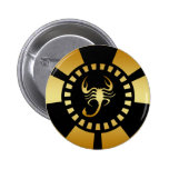 GOLD SCORPION POKER CHIP BUTTON