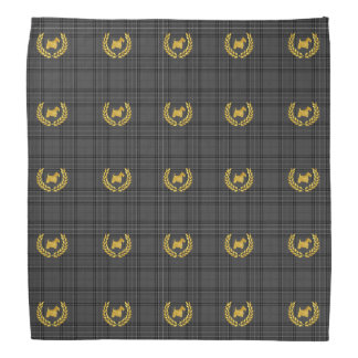 Gold Scottie and Wreath Charcoal Plaid Bandana