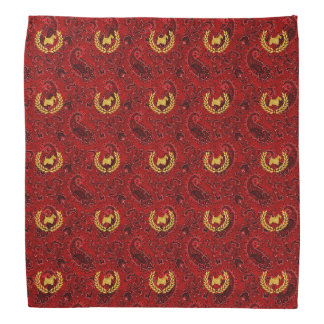 Gold Scottie and Wreath Red Paisley Bandana