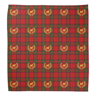 Gold Scottie and Wreath Stewart Plaid Bandana