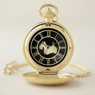Gold Scottie Dog Pocket Watch