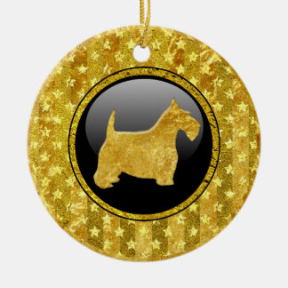 Gold Scottish Terrier and Black Ceramic Ornament
