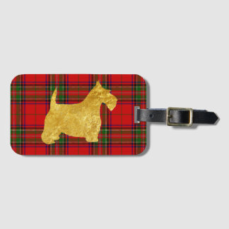Gold Scottish Terrier on Plaid Bag Tag
