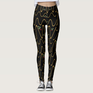 Gold Scribbles & Holly Berries, Holiday Leggings! Leggings