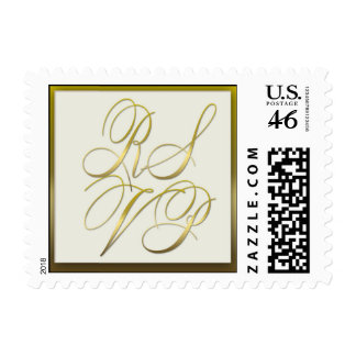 Gold Script and Cream background RSVP Postage