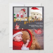 Gold Script Chalkboard Christmas Holidays Photo Holiday Card