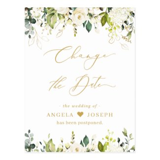 Gold Script Change the Date Greenery White Roses Postcard