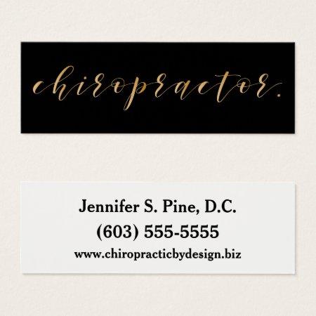 Gold Script Chiropractor Mini Business Card