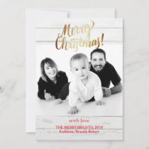 Gold Script Christmas Vintage Holiday Photo Fun