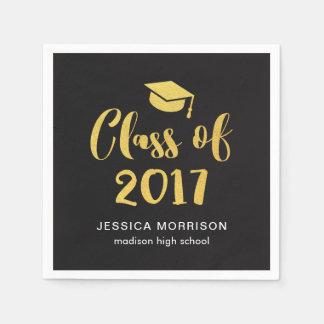 Gold Script Class of 2017 Graduation Party Napkin