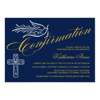 Gold Script Confirmation Text with Cross and Dove Card