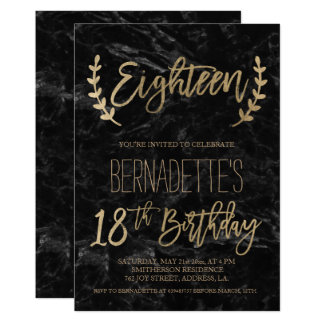 Gold script feathers black marble 18th Birthday Card