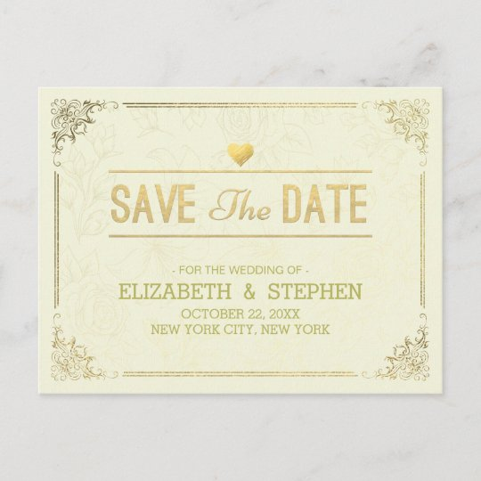 Gold Script Floral Frame Wedding Save The Date Announcement Postcard ...