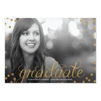 Gold Script Glitter Look Photo Graduation Invite
