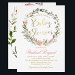 "Gold Script Greenery Floral Wreath Baby Shower Invitation<br><div class=""desc"">Gold Script Greenery Floral Wreath Baby Shower Invitation</div>"