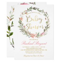 Gold Script Greenery Floral Wreath Baby Shower Invitation