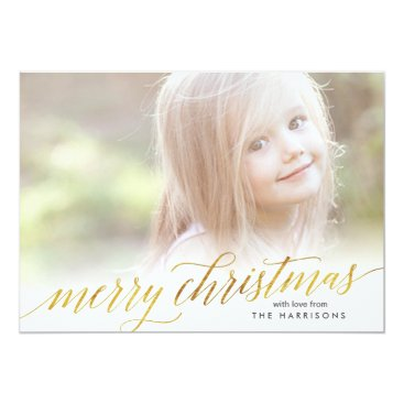 Christmas Themed Gold Script Merry Christmas Card in Faux Foil