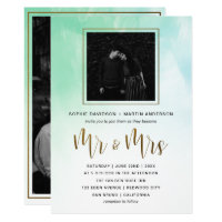Gold Script Mint Watercolor Wedding Mr & Mrs Photo Card