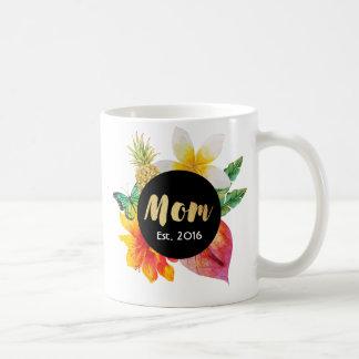 Gold Script Mom Tropical Floral Coffee Mug