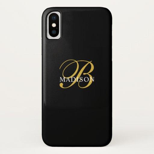Gold  Script Monogram Black  iPhone X Case