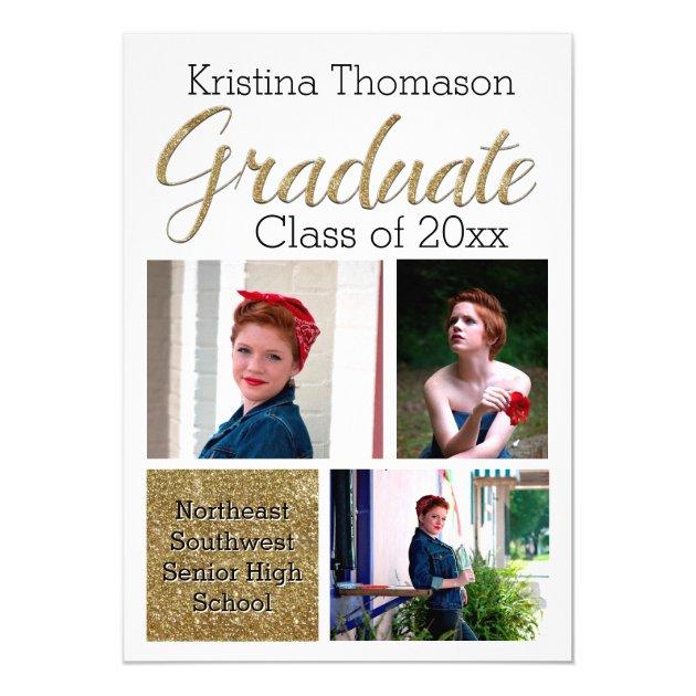 Gold Script Photo Collage High School Graduation 5x7 Paper Invitation Card