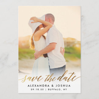 Gold Script Photo Save the Date in Faux Foil