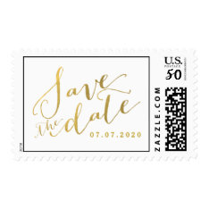 Gold Script Save The Date Wedding Postage Stamps at Zazzle