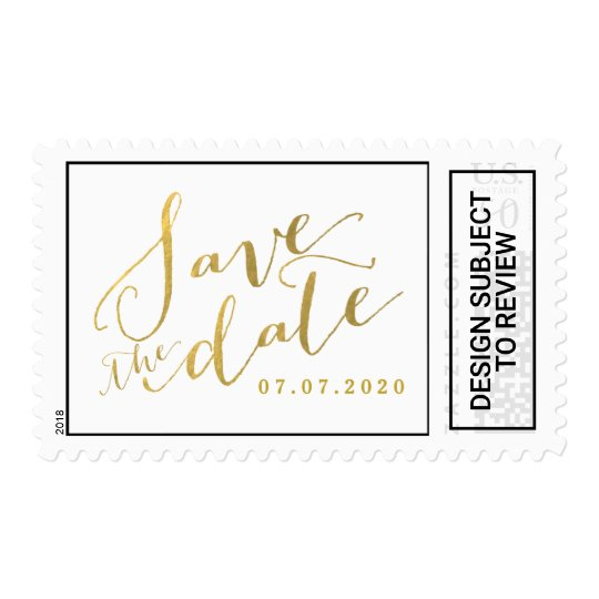 gold script save the date wedding postage stamps zazzle com