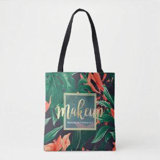 Gold Script & Tropical Floral Makeup Beauty Salon Tote Bag