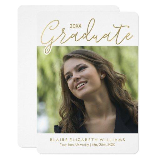 Gold Script Typography Graduation Card