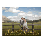 Gold Script Typography Thank You Photo Postcard