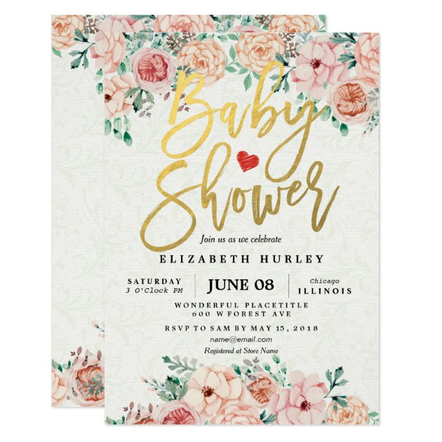 floral baby shower invitations & announcements | zazzle,
