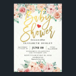 "Gold Script & Watercolor Floral Baby Shower Invite<br><div class=""desc"">Elegant Gold Script Lettering Typography and Vintage Watercolor Floral Baby Shower Invitation Cards Templates. All text style,  colors,  sizes can be modified to fit your needs!</div>"