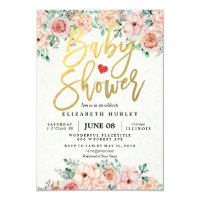 Baby shower invitations zazzle gold script watercolor floral baby shower invite stopboris Choice Image
