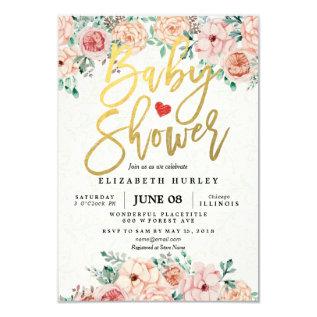 Gold Script & Watercolor Floral Baby Shower Invite at Zazzle