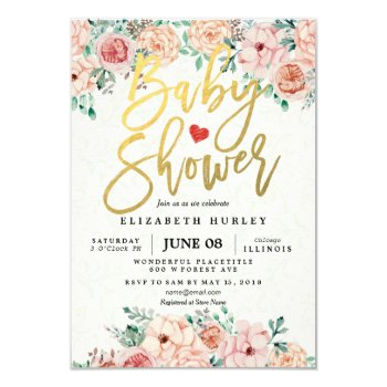 Gold Script & Watercolor Floral Baby Shower Invite by ReadyCardCard at Zazzle
