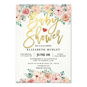 ReadyCardCard Gold Script & Watercolor Floral Baby Shower Invite