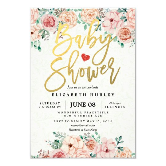 Gold Script Watercolor Floral Baby Shower Invite Zazzlecom