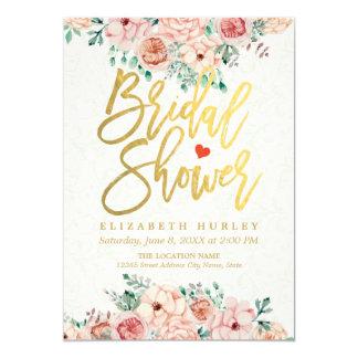 Gold Script Watercolor Floral Bridal Shower Invite