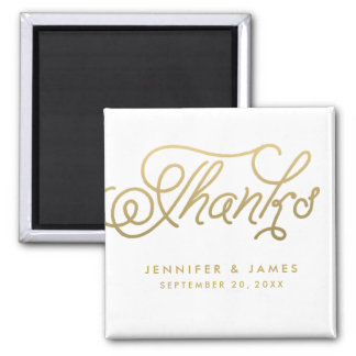 Gold Script Wedding Favor Thank You Magnets