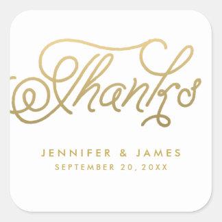Gold Script Wedding Favor Thank You Stickers