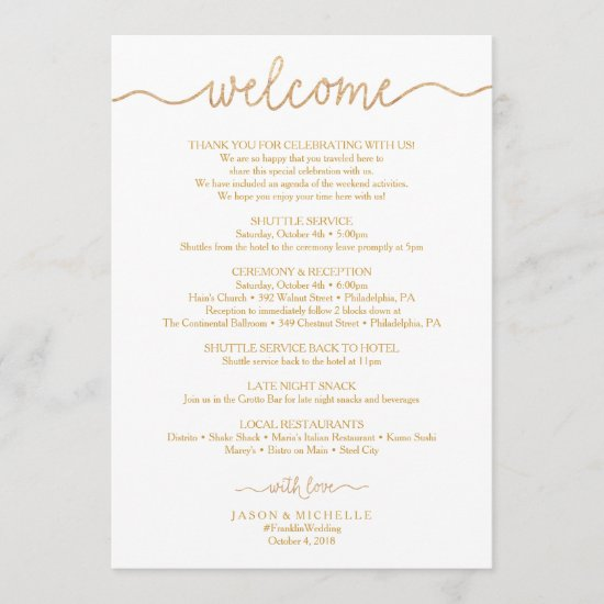 Gold Script Wedding Itinerary - Wedding Welcome Program