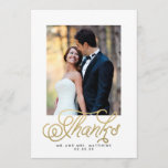 """Gold Script Wedding Photo Thank You<br><div class=""""desc"""">Gold Script Wedding Photo Thank You Card. Customize with your photograph,  and text inside. Beautiful card with &quot;Thanks&quot; in a script font with swirls . Use the template prompts or click &quot;customize&quot; and have more freedom to personalize your card. Sample photo only. Elke Clarke&#169;</div>"""