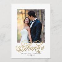 Gold Script Wedding Photo Thank You