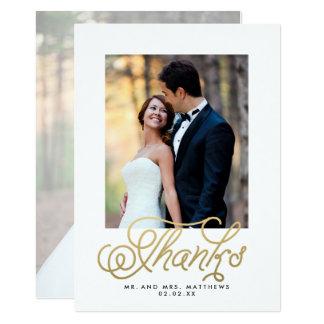 Gold Script Wedding Photo Thank You Card