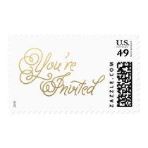 Gold Script Wedding Postage Stamp