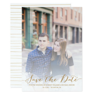 Gold Script Wedding Save the Date Card