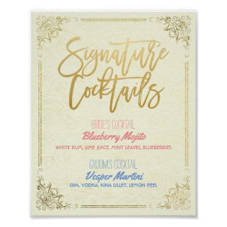 Gold Script Wedding Signature Cocktail Drink Menu Poster