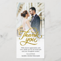 gold script | wedding thank you card