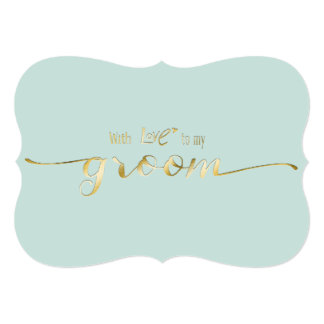 Gold Script With Love To My Groom Wedding Day Card